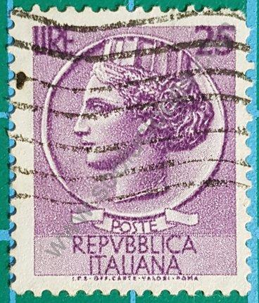 Sello Italia 1968 Moneda Siracusa Valor facial 25 liras