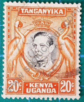 Rey Jorge VI y grulla Balearica Kenia-Uganda-Tanganica 1942
