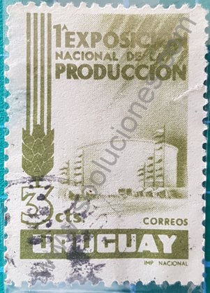 Sellos Uruguay 1956 1a Exposición Nacional de Producción 3cts