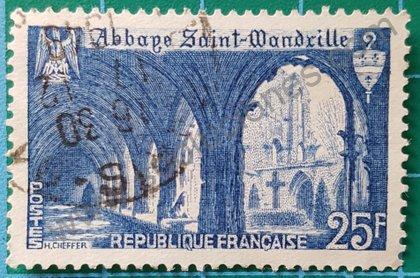 Abadía Saint-Wandrille sello de Francia 1949
