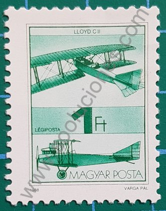 Sello Aeroplano LLoyd C II - Hungría 1988