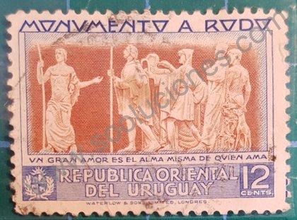 José Enrique Rodó monumento Sello Uruguay 1948