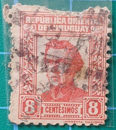Sello Artigas 1940 Uruguay valor facial 8 Centésimo