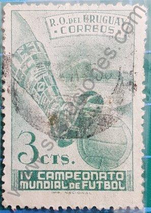 Sello Uruguay 1951 Copa Mundial FIFA 1950