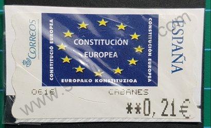 Etiqueta ATM España Constitución Europea 2005