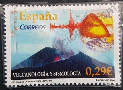 Sello España 2006 Volcán y sismógrafo