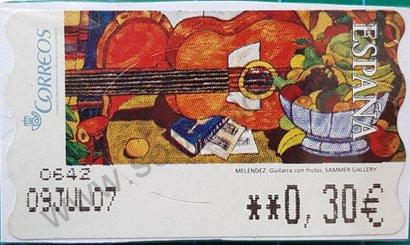 Sello Guitarra con Frutas ATM España 2005