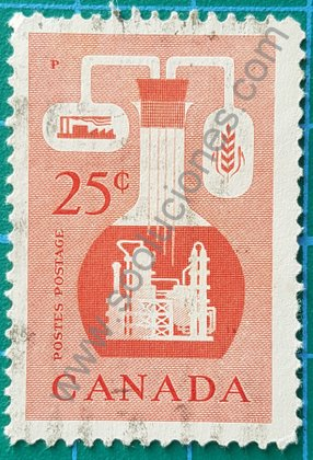Sello Canadá 1956 Industria química 25 ¢