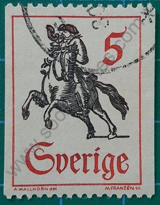 Sellos Suecia 1967 Cartero a caballo sin dentado lateral