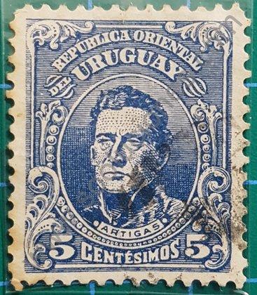Sellos Uruguay 1912 General Artigas valor 5 centésimos
