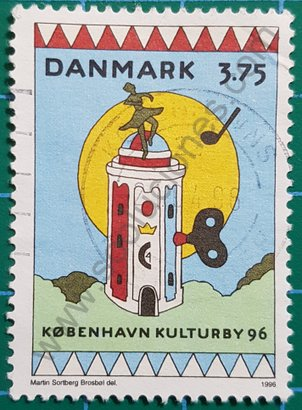 Sello Dinamarca 1996 La Torre redondaSello Dinamarca 1996 La Torre redonda