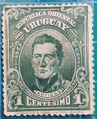 Sello Uruguay 1910 Artigas valor 1 Centésimo