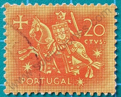 Sello 1953 Portugal Rey Dionisio I 20ctvs