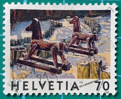 Sello Suiza 1960 Dos caballos - Jean Fréderic Schnyder