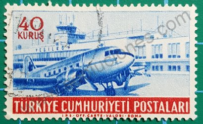 Sello Turquía 1954 Douglas DC3 en aeropuerto de Yeşilköy