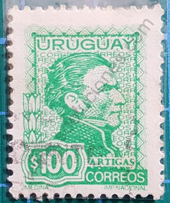 Sello 1972 Uruguay General Artigas $100