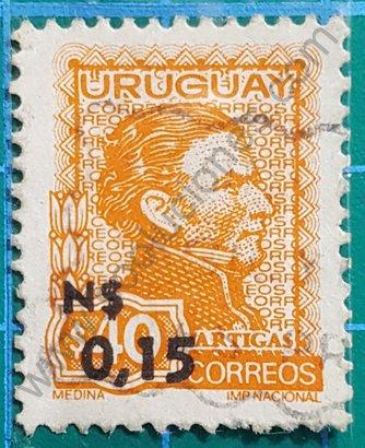 Sello 1975 Uruguay Artigas sobreimpreso N$ 0,15