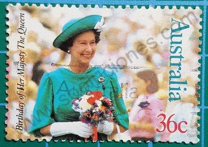 Sello Australia 1987 Cumpleaños 61 Reina Elizabeth II