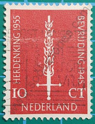Sello Países Bajos 1955 Liberación