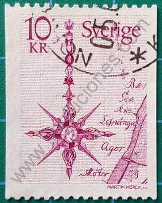 Sello Suecia 1978 Flecha señalando el norte