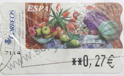 Etiqueta ATM España 2003 Bodegón de tulipanes