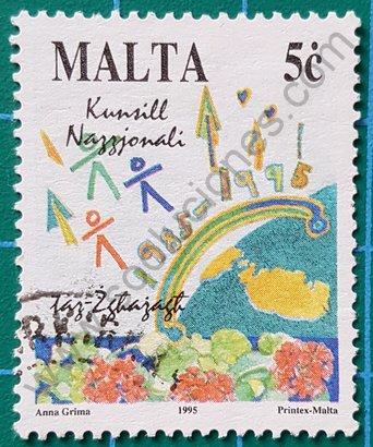 Sello Malta 1995 Dibujos de niños