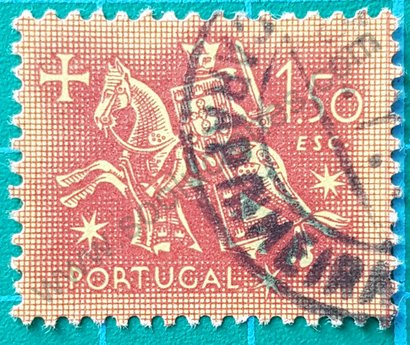 Sello Portugal Caballero a caballo 1953 1.50 esc