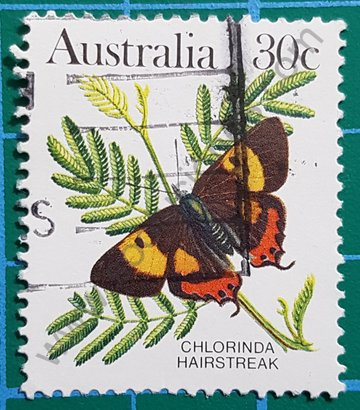 Sello Australia 1983 Chlorinda hairstreak