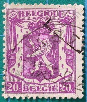 Sello Bélgica 1936 Escudo de Armas 20 c