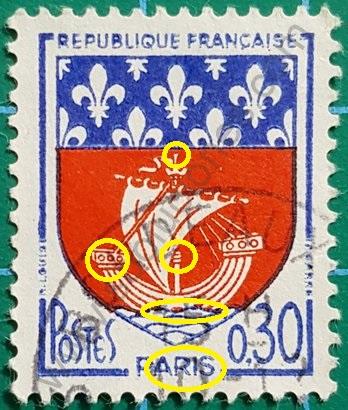Sello Francia Paris escudo de armas 1965