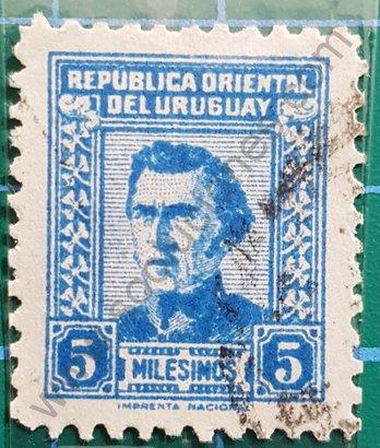 Sello Uruguay 1958 Artigas 5 Milésimos