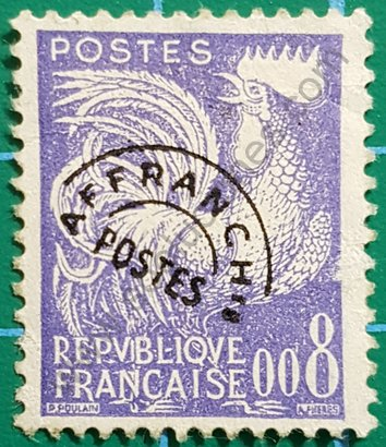 Sello Francia 1960 Gallo precancelado