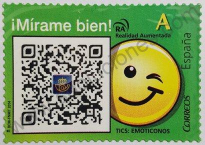 Sello España 2014 Código QR y emoticono