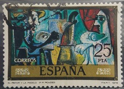 Sello España 1978 El pintor y la modelo
