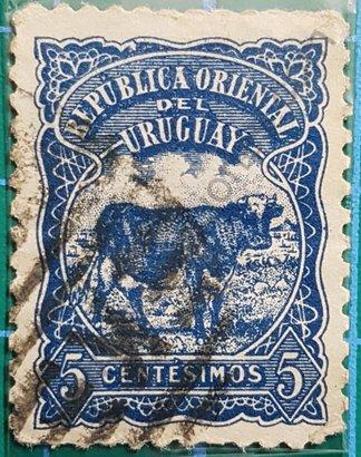 Sello Uruguay 1904 Bos Taurus 5 Centésimos