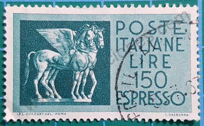 Sello Italia 1966 Caballos alados etruscos