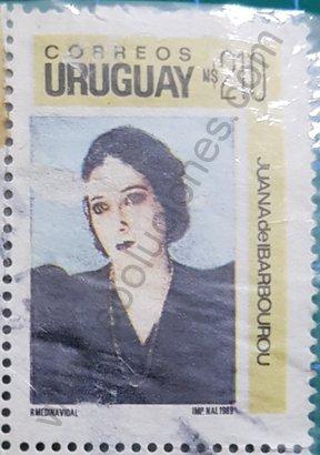 Sello Juana de Ibarbourou de 1990 Uruguay