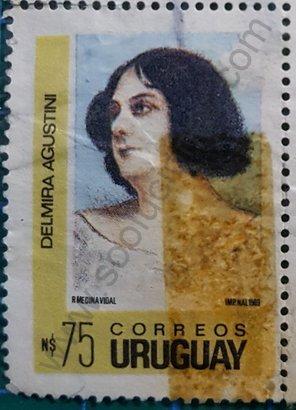 Sello Delmira Agustini 1990 de Uruguay