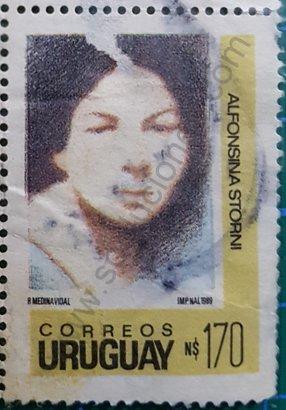Sello de Alfonsina Storni de 1990 Uruguay