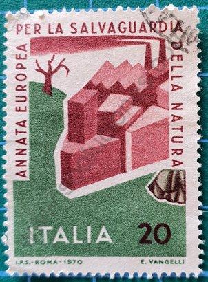 Sello Año Conservación Naturaleza - Italia 1970