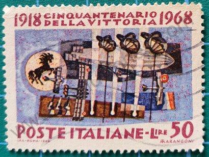 Sello Victoria de la 1ª Guerra Mundial - Italia 1968