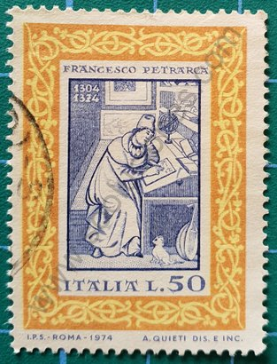 Sello Italia 1974 Francesco Petrarca 50 Liras
