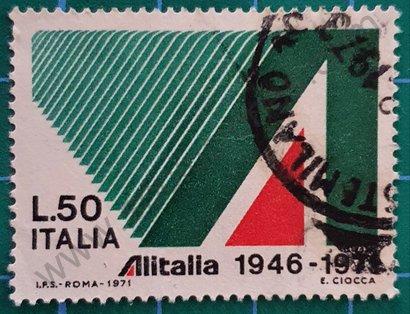 Sello Alitalia 25 aniversario - Italia 1971