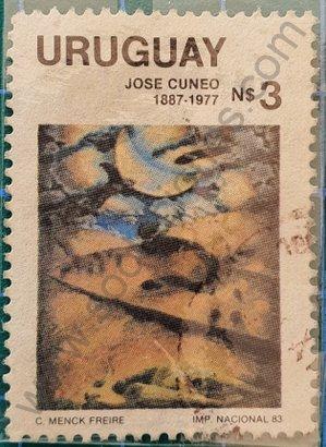 Sello José Cuneo pintor Uruguay 1983