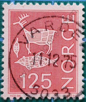 Sello Noruega 1975 Pinturas rupestres 125 øre
