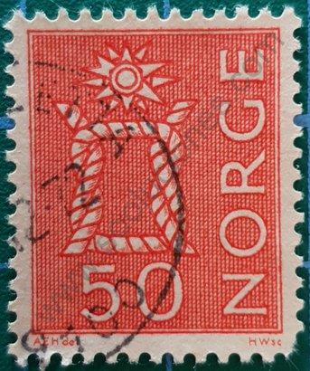 Sello Noruega 1962 Nudo marino 50 øre