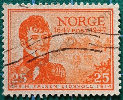 Sello Noruega 1947 Christian Magnus Falsen
