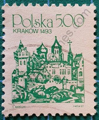 Sello Polonia 1981 Cracovia Skyline 1493