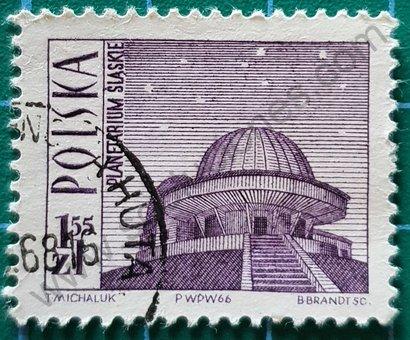 Sello Polonia 1966 Planetario de Silesia