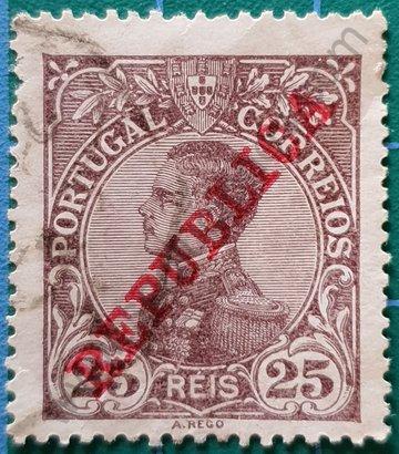 Sello Portugal 1910 Rey Manuel II - 25 Reis